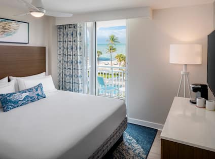 King Suite Bedroom with Ocean View from Balcony