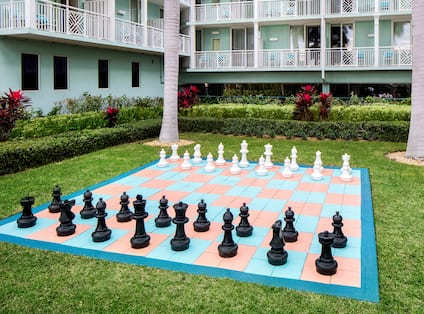Large Chess Game on Outdoor Garden