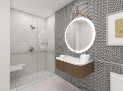 View of Sink and Mirror in Bathroom
