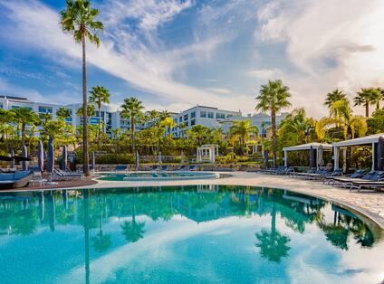 Outdoor Pool Area with Palm Trees