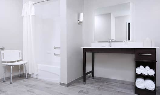 Accessible Guest Bathroom with Vanity and Tub