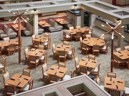 Overhead View of Dining Tables, Chairs and Booths at International Cafe Restaurant