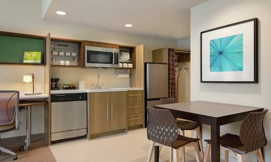 Kitchen Area in a One Bedroom Suite with a King Bed