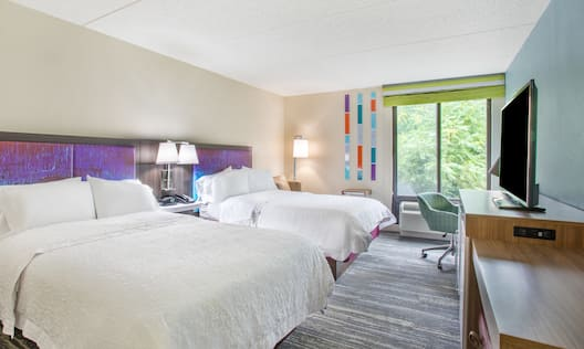Two Queen Bedroom with TV and Desk