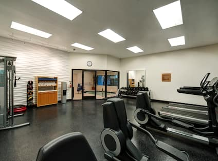 Fitness Center With Cardio Equipment, Weight Machine, Exercise Stepper, Weight Balls, Towel Station, Water Cooler, Wall Clock Above Glass Door With View of Hot Tub, and Large Mirror by Free Weight