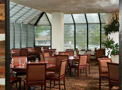 Overview of Woodlands Dining Area With Tables, Chairs and Large Windows
