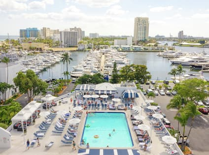 Aerial View of Pool Deck with Marina View