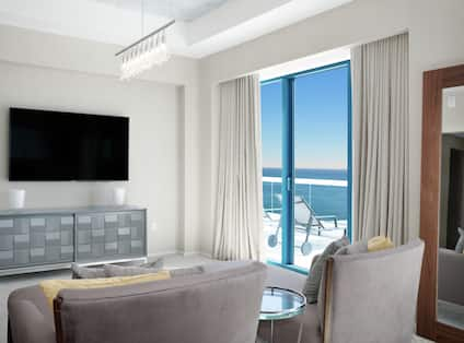 Guestroom with Lounge Area, Room Technology, and Outside View