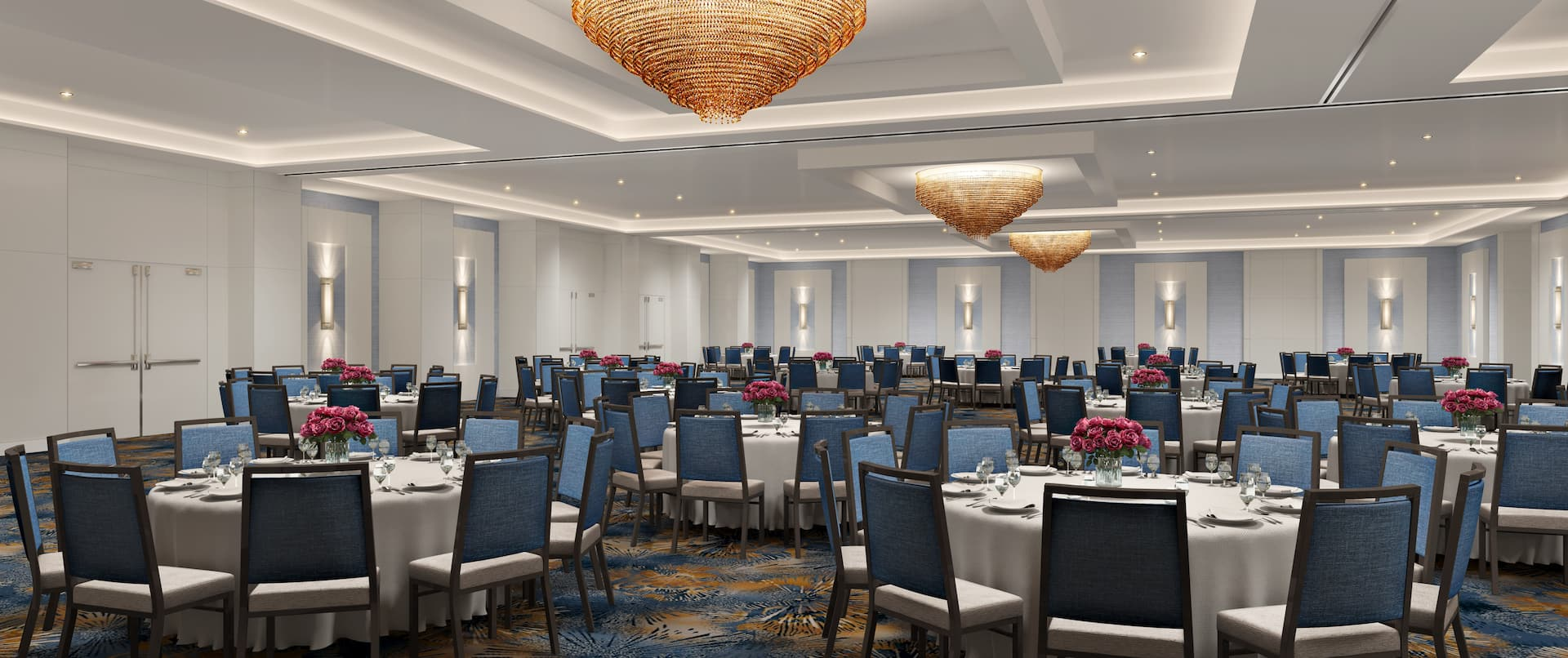 grand ballroom with round tables