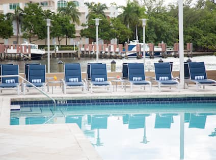 Daytime View of Blue Lounge Chairs by Heated Outdoor Pool
