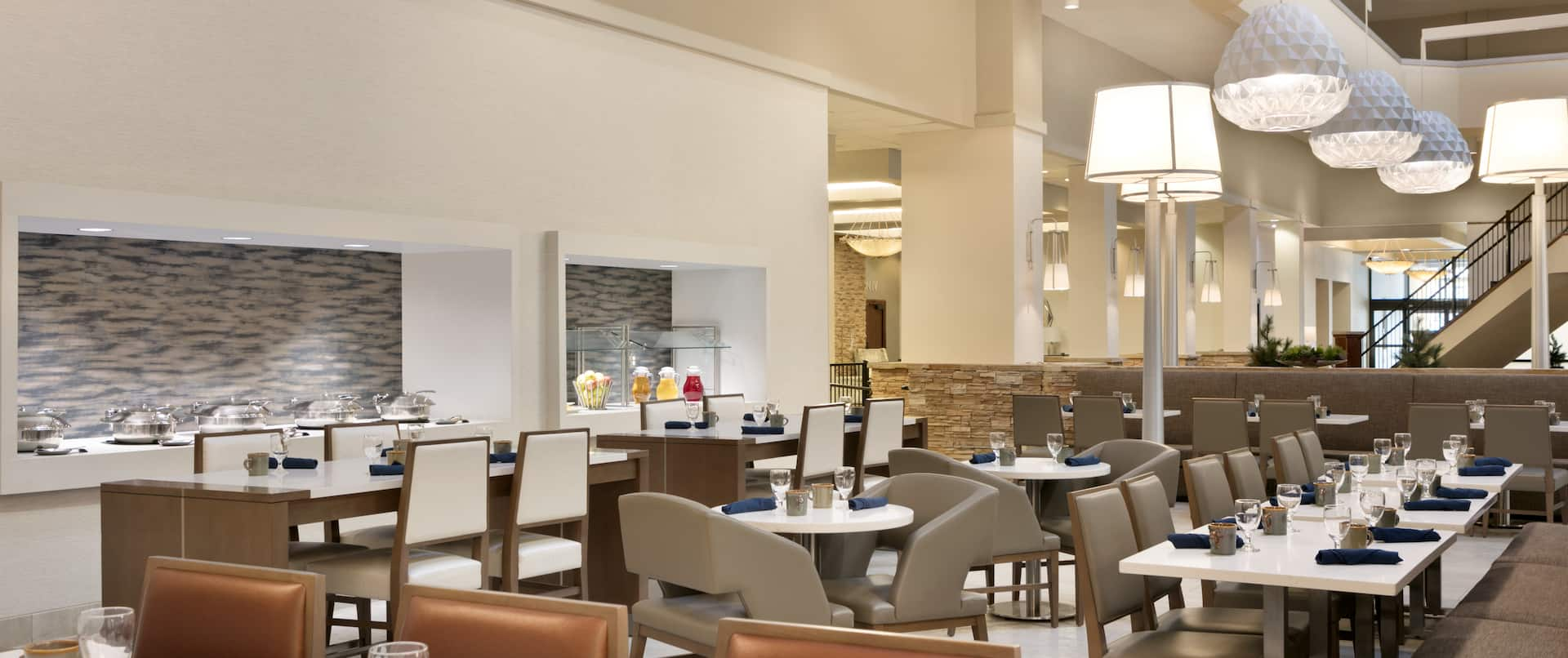 Restaurant Dining Area with Tables and Chairs