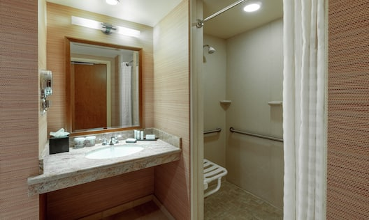 Accessible Roll-In Shower in Guest Room Bathroom