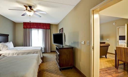 2 Queen Beds 1 Bedroom Suite Living Area