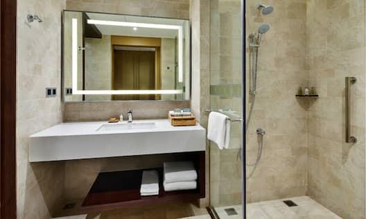 Vanity and Shower in Standard King Room Bathroom