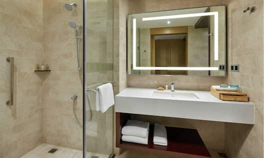 Vanity and Shower in Standard Twin Room Bathroom