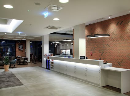 Hampton Inn Hotel Lobby and Front Desk with Room Technology