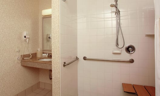 Accessible Guest Roll-In Shower with Bench and Vanity