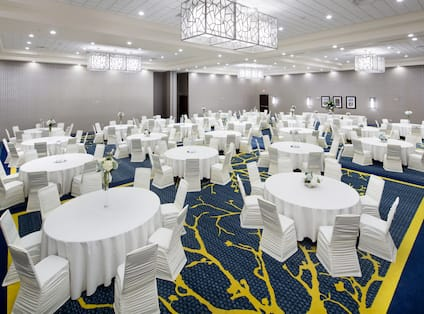 Meeting area and ballroom with tables and chairs