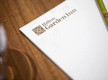 Hilton Garden Inn stationary, pen and notepad