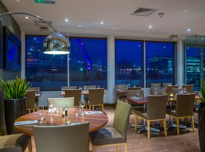 Restaurant Seating at Night