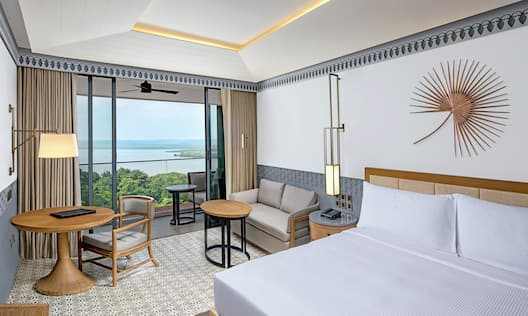 Guestroom with King Bed, Lounge Area, Work Desk, Outside View, and Balcony