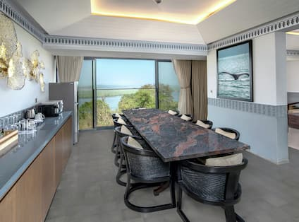Premium Suite Dining Room with Table, Chairs, Kitchen, Lounge Area, Room Technology, and Outside View