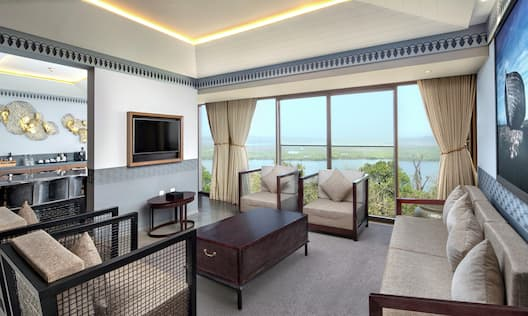Premium Suite Living Room with Room Technology, Outside View, and Lounge Area