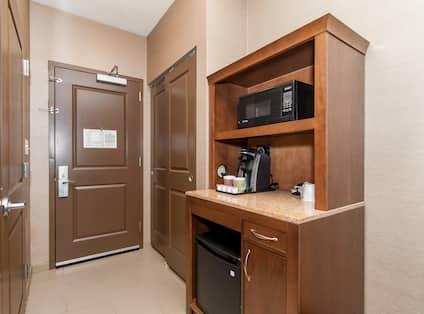 Room amenities - refrigerator, microwave and coffee maker