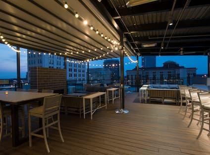 Rooftop Patio Bar at Night