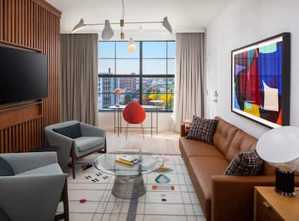 Suite Living Room Area with Large Window