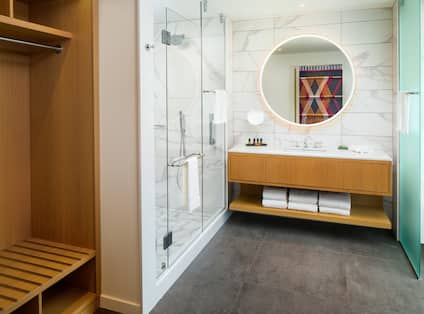 Storage Shower and Vanity Area in Hotel Guest Room