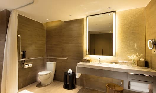 Guest Bathroom Vanity and Roll- In Shower