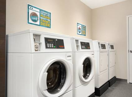Convenient coin operated laundry machines.