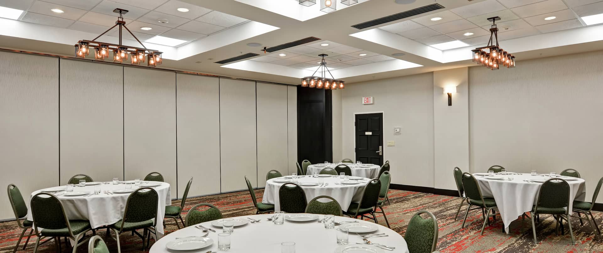 Chairs and Round Banquet Tables in Meeting Room