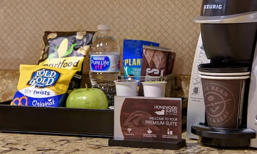 guest room snacks and coffee