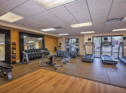 Fitness Center With Weight Benches, Weight Balls, Cardio Equipment Facing Windows, and Free Weights Facing Large Wall Mirror