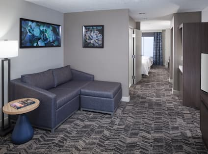 Suite Living Room with Couch, Television and Entry to Bedroom