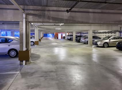 Covered Parking Garage with Cars