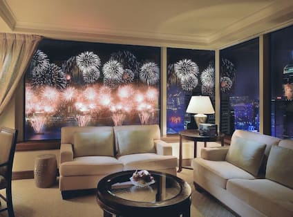 View of fireworks from Harbour view room..