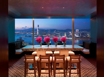 Executive Lounge Table and Evening City View
