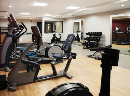 Fitness Center with Cycle Machine, Cross-Trainers and Dumbbell Rack