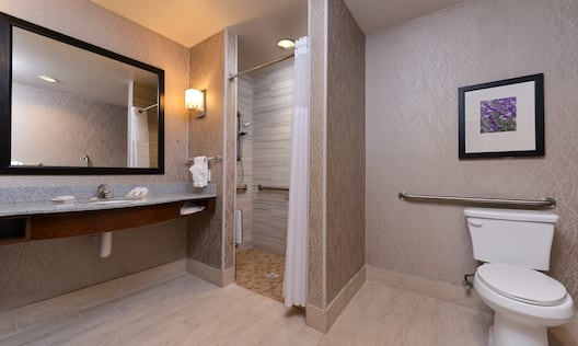 Vanity Mirror, Sink, Towels, Toiletries, Roll-in Shower with Bench, Grab Bars, Handheld Showerhead and Wall Art Above Toilet With Grab Bars in Accessible Bathroom