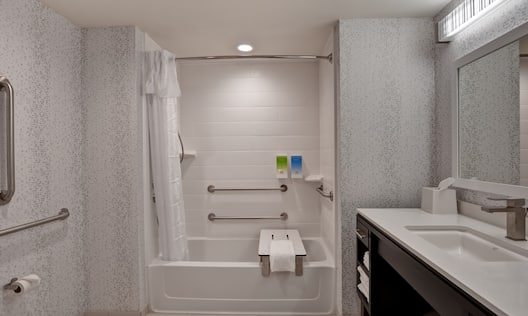 Accessible Bathroom Tub with Handrails and Bench