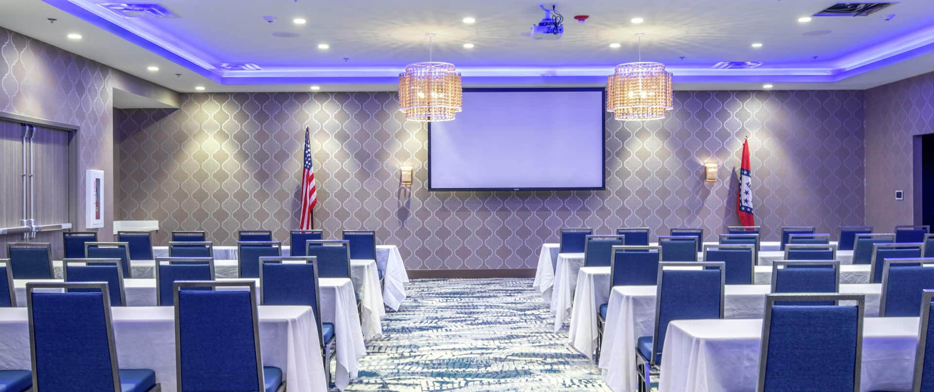Trifecta Ballroom Setup Classroom Style with Projection Screen