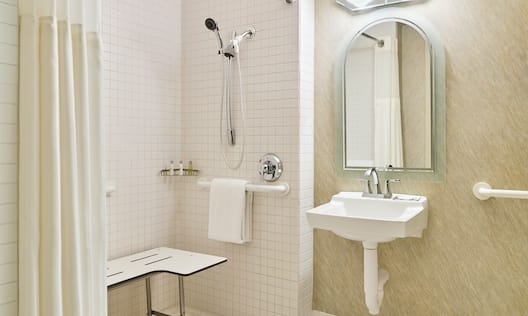 Accessible Bathroom with Roll in Shower and Seat