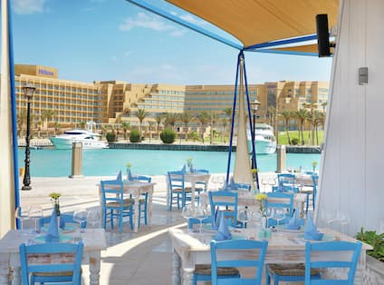 Hotel Onsite Lophelia Seafood Restaurant Inside and Outside Seating