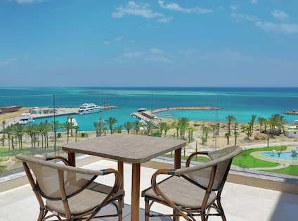 Table and Chairs on Balcony Overlooking the Red Sea