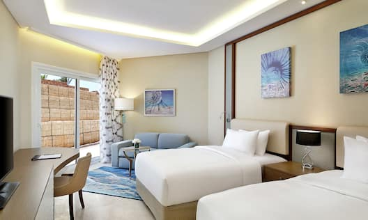 Two Twin Bed Hotel Room with Outside View