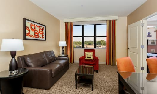 Hilton Promenade at Branson Landing Hotel, MO - One King Bed Suite Living Area
