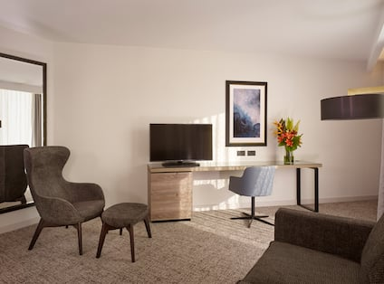 Living Area of Guest Suite with Large Windows and Natural Light coming in, a Floor to Ceiling Mirror, HDTV, Gray Chair for Natural Wood Desk